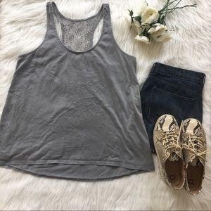 | Target | Gray Floral Crochet Back Tank Top